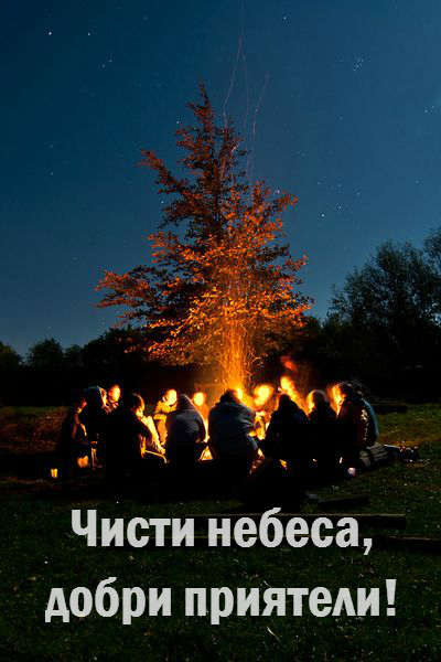 Добри приятели около огъня.